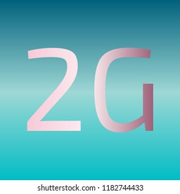 2g technology icon. Vector. Pink bronze gradient icon at turquoise gradient background.