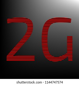 2g technology icon. Vector. Striped red and black icon at gradient blackish background. Zebra.