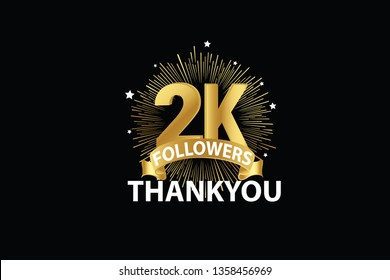 2K, 2000 Followers anniversary, minimalist logo years, jubilee, greeting card. invitation. Sign Ribbon Gold space vector illustration on black background - Vector