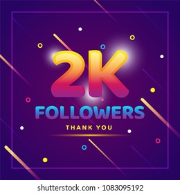 2k or 2000 followers thank you colorful background and glitters. Illustration for Social Network friends, followers, Web user Thank you celebrate of subscribers or followers and likes