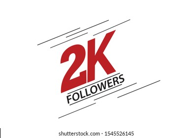 2K, 2.000 Followers Thank you red and black speed line logotype for social media, internet - vector