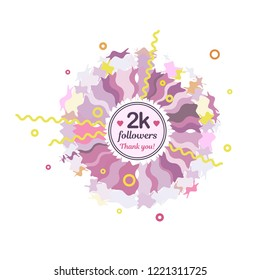 2k followers card banner template for celebrating many followers in on-line social media networks