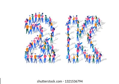2K Followers Isometric Vector Concept, Group of business people are gathered together in the shape of 2000 word, for web page, banner, presentation, social media, Crowd of little people. teamwork