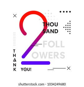 2k Followers Memphis Colorful poster with geometric elements. Followers memphis card for social media networks and follower. Thank you followers Banners.
