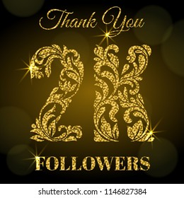 2K Followers. Thank you banner. Decorative Font with swirls and floral elements. Golden letters with sparks on a dark background.