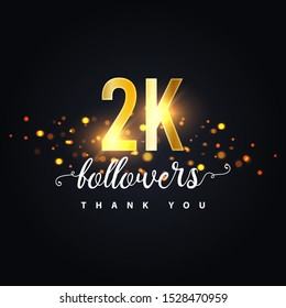 2k Followers thank you design. Vector illustration