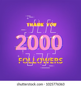 2K Followers thank you phrase with random items. Template for social media post. Glitch chromatic aberration style. Ultra violet palette colors. 2000 subscribers banner. Vector illustration.