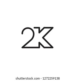 2k letter icon logo vector template