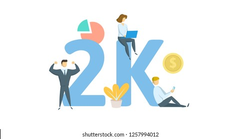 2K likes, followers online social media banner. Concept with keywords, letters, and icons. Colored flat vector illustration. Isolated on white background.