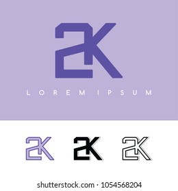 2k overlaping sign logo logotype vector art illustration