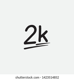 2k two thousand followers. black vector letters