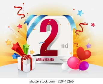 2nd anniversary celebration with colorful confetti and balloon with shiny yellow background