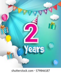 2nd Anniversary Celebration Design, with clouds and balloons. using Paper Art Design Style, Vector template elements for your, two years birthday celebration party.