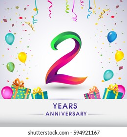 2nd Anniversary Celebration Design, with gift box, balloons and confetti, Colorful Vector template elements for your, two years birthday celebration party.