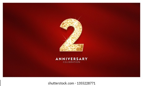 2nd Anniversary celebration - Golden numbers with red fabric background