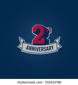 2nd Anniversary Celebration Logo using 3d Number, Red Colored Isolated in Blue Background. Retro Style