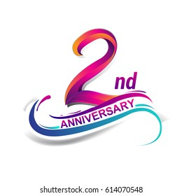 2nd anniversary celebration logotype blue and red colored. two years birthday logo on white background.