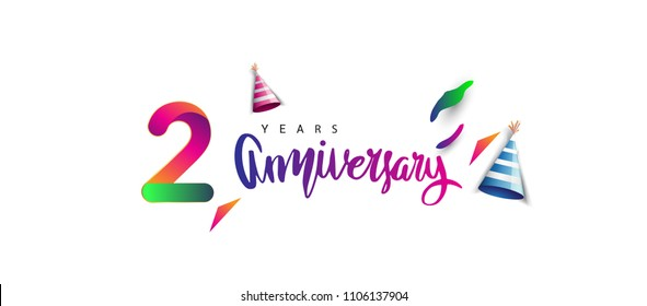 2nd anniversary celebration logotype and anniversary calligraphy text colorful design, celebration birthday design on white background.