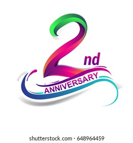 2nd anniversary celebration logotype green and red colored. two years birthday logo on white background.