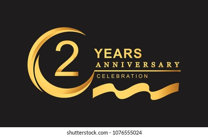 2nd anniversary design logotype golden color with ring and gold ribbon for anniversary celebration