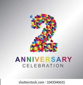 2nd anniversary design logotype paper hearts multi-color for celebration
