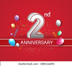 2nd anniversary design red background with balloons and confetti for company celebration event