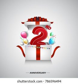 2nd anniversary design with red number inside gift box isolated on white background for celebration event