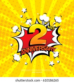 2nd anniversary emblem. Two years anniversary celebration symbol