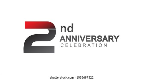 2nd anniversary logo red and black design simple isolated on white background for anniversary celebration.