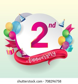 2nd Anniversary logo with ribbon, balloon, and gift box isolated on circle object and colorful background