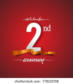 2nd anniversary logotype with golden ribbon isolated on red elegance background, vector design for birthday celebration, greeting card and invitation card.