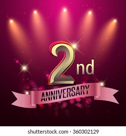 2nd Anniversary, Party poster, banner or invitation - background glowing element. Vector Illustration.