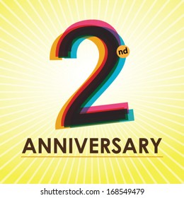 2nd Anniversary poster / template design in retro style - Vector Background