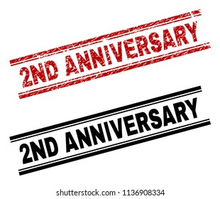 2ND ANNIVERSARY stamp seal watermark with red corroded and clean black version. Red vector rubber print of 2ND ANNIVERSARY label with corroded style. Tags are placed between double parallel lines.