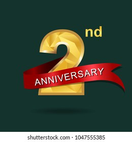 2nd anniversary years celebration logotype. Logo gold numbers and ribbon green background.