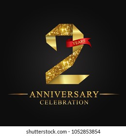 2nd anniversary years celebration logotype. Logo ribbon gold number and red ribbon on black background.