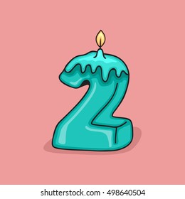 2nd Birthday Candle Number .Vector design template elements for your birthday celebration.