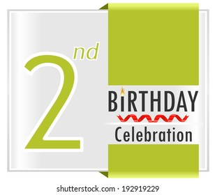 2nd birthday celebration card with vibrant colors and ribbon - vector illustration