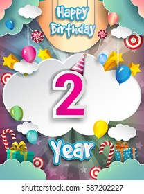 2nd Birthday Celebration greeting card Design, with clouds and balloons. Vector elements for the celebration party of two years anniversary