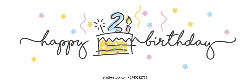2nd Birthday handwritten typography lettering Greeting card with colorful big cake, sparkle firework, number, candle and confetti