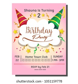 2nd birthday party invitation card with hat