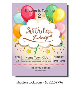 2nd birthday party invitation card with balloon