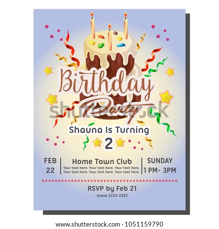 2nd birthday party invitation card cake stock vector royalty free