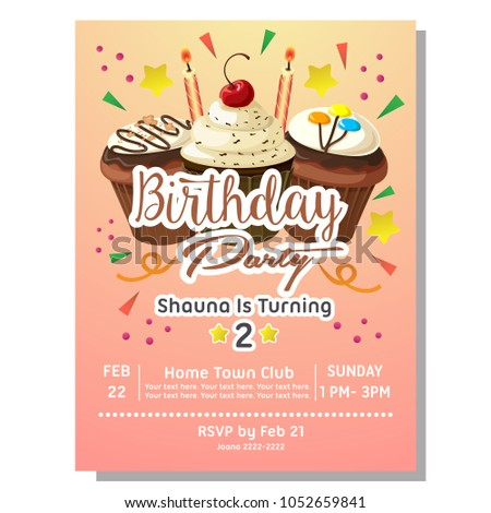 2nd Birthday Party Invitation Card With Chocolate Cupcake