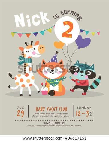 2nd birthday party invitation card stock vector royalty free 2nd birthday party invitation card filmwisefo