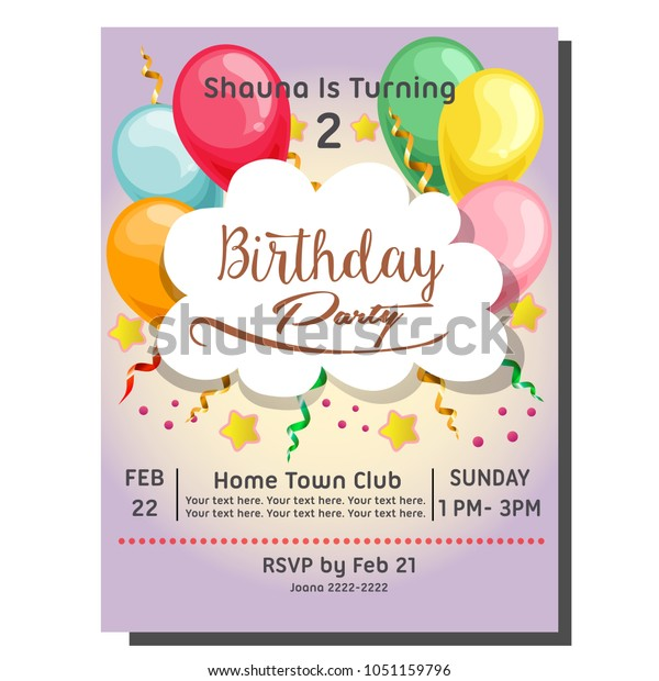 2nd Birthday Party Invitation Card Balloon Stock Vector Royalty