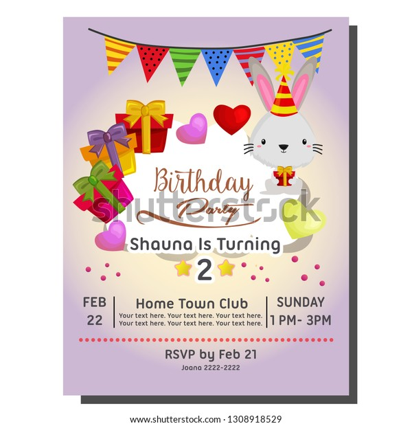 2nd Birthday Party Invitation Card Rabbit Stock Vector