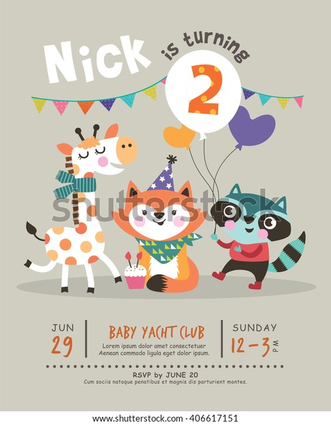 2nd Birthday Party Invitation Card Miscellaneous Animals