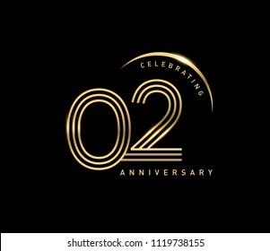 Logotipo del 2do aniversario con anillo de oro aislado en fondo negro, diseño vectorial para tarjetas de felicitación y tarjeta de invitación.