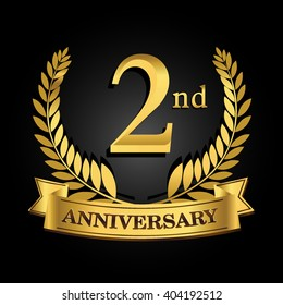2nd golden anniversary logo with ring and ribbon, laurel wreath vector design isolated on black background